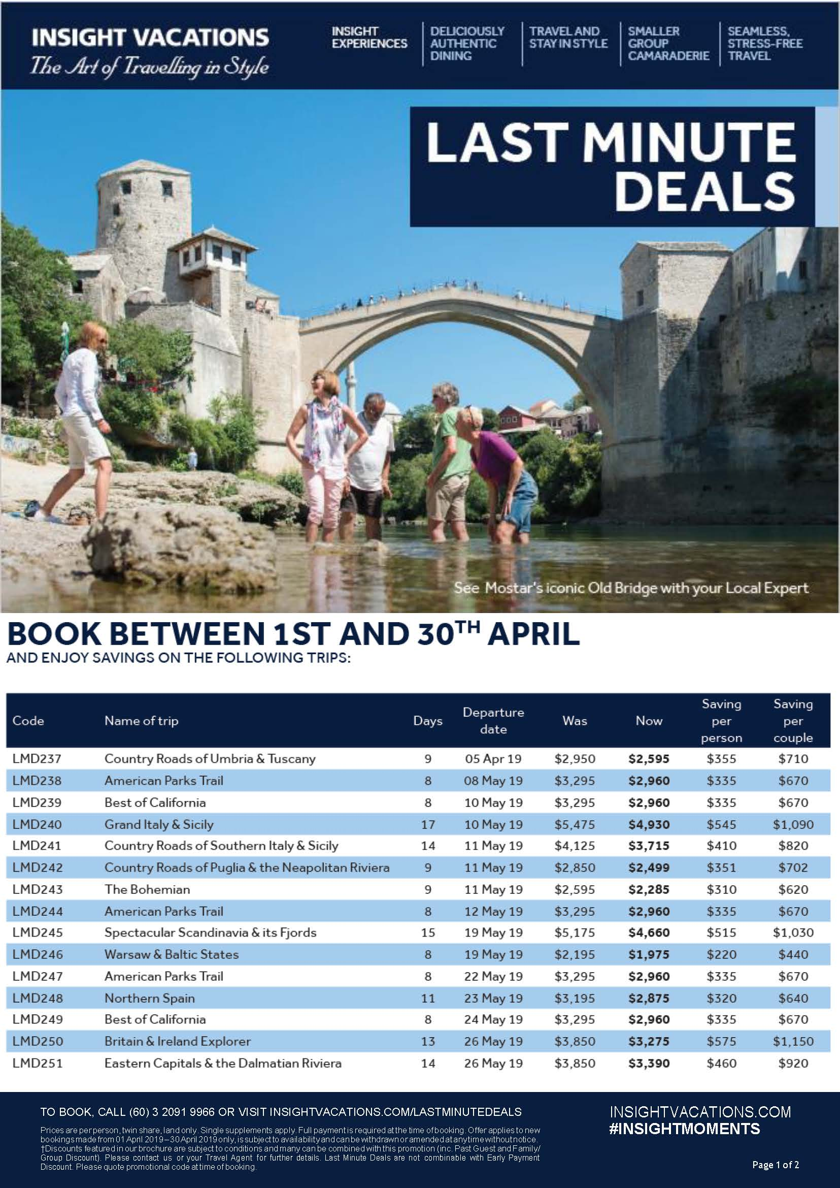 Insight Vacations Last Minute Deals April 2019 IV LMD APR 2019 Page 1