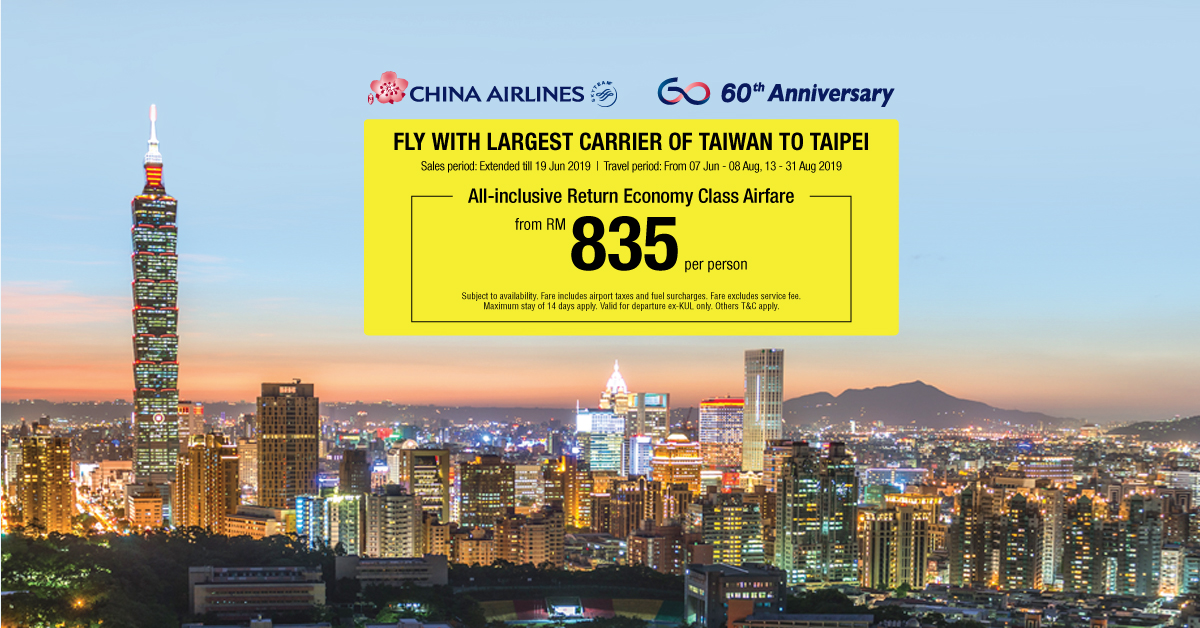 China Airlines Fly with Largest Carrier of Taiwan to Taipei FB Banner China Airlines II