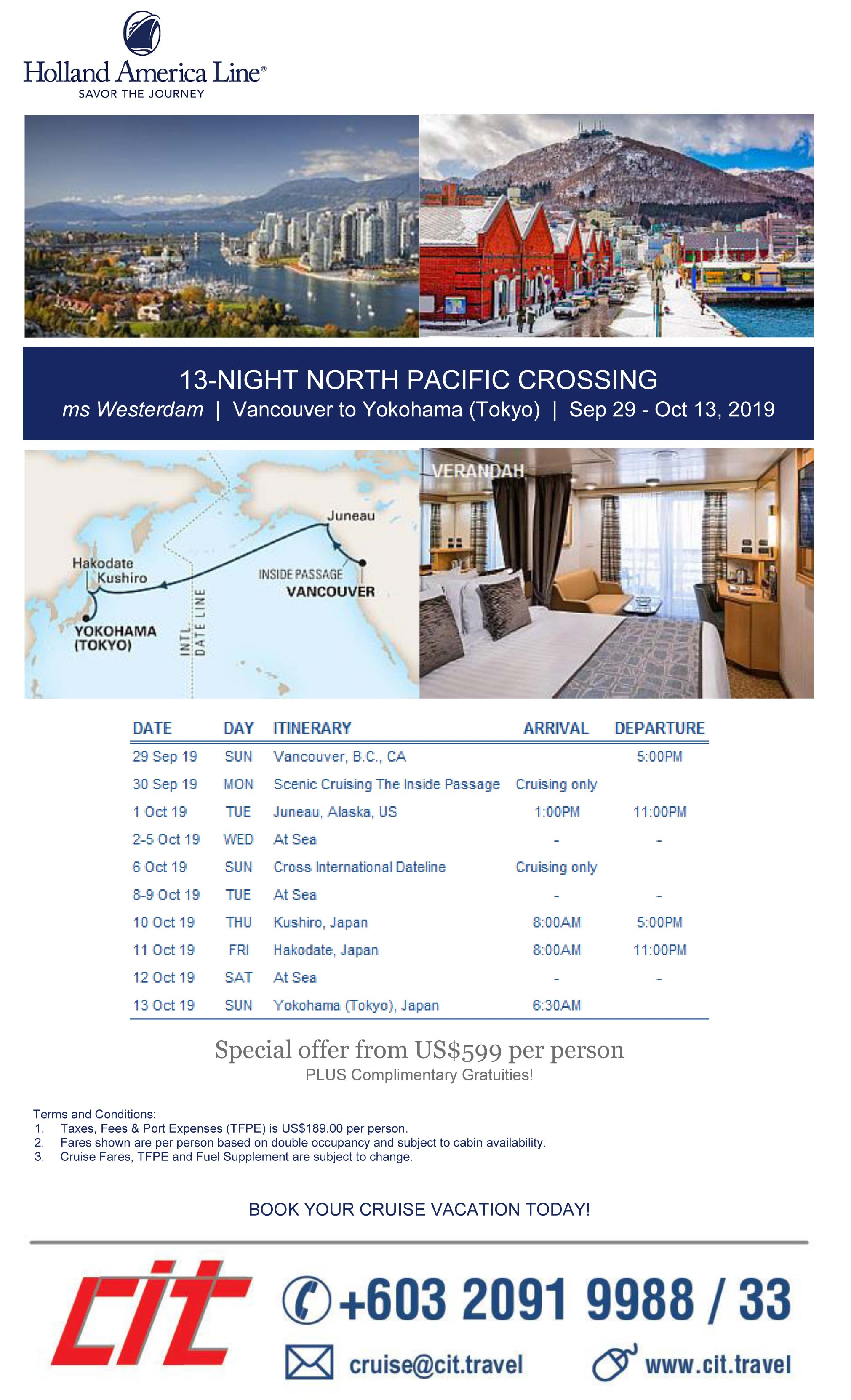 Holland America 13 Night North Pacific Crossing HAL 13 Night North Pacific Crossing