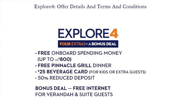 Holland America Line – Explore 4 | Four Extras + A Bonus Deal HAL 20190805 TnC