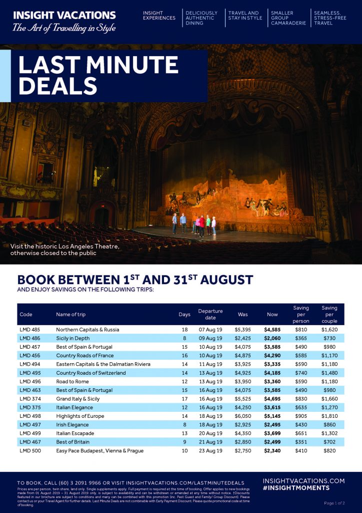 Insight Vacations Last Minute Deals AUG Page 1