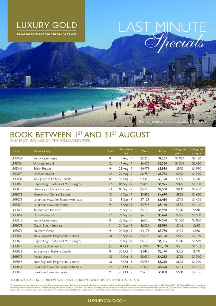 Insight Vacations Last Minute Specials AUG