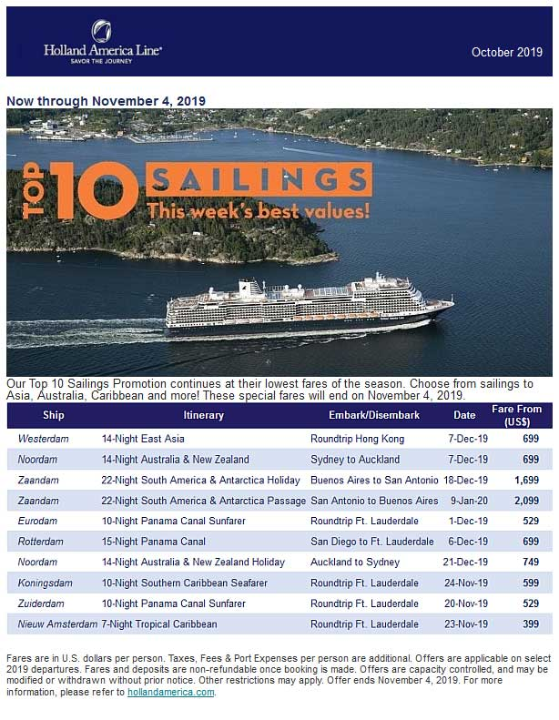 Holland America Line - Top 10 Sailings Promotion 20191030 HOLLAND AMERICA
