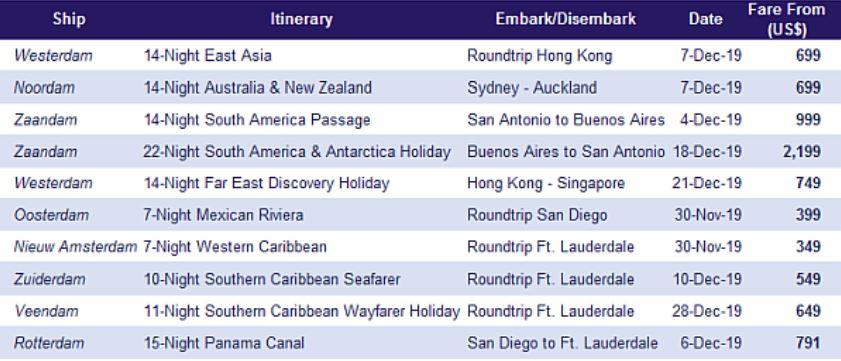 Holland America Line - Top 10 Sailings Promotion Holland Oct