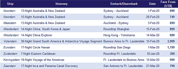 Holland America Line - Top 10 Sailings to Asia, Australia, Caribbean and more! TOP 10