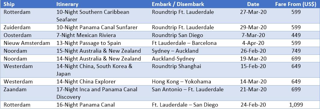 Holland America Line - Top 10 Sailings HAL