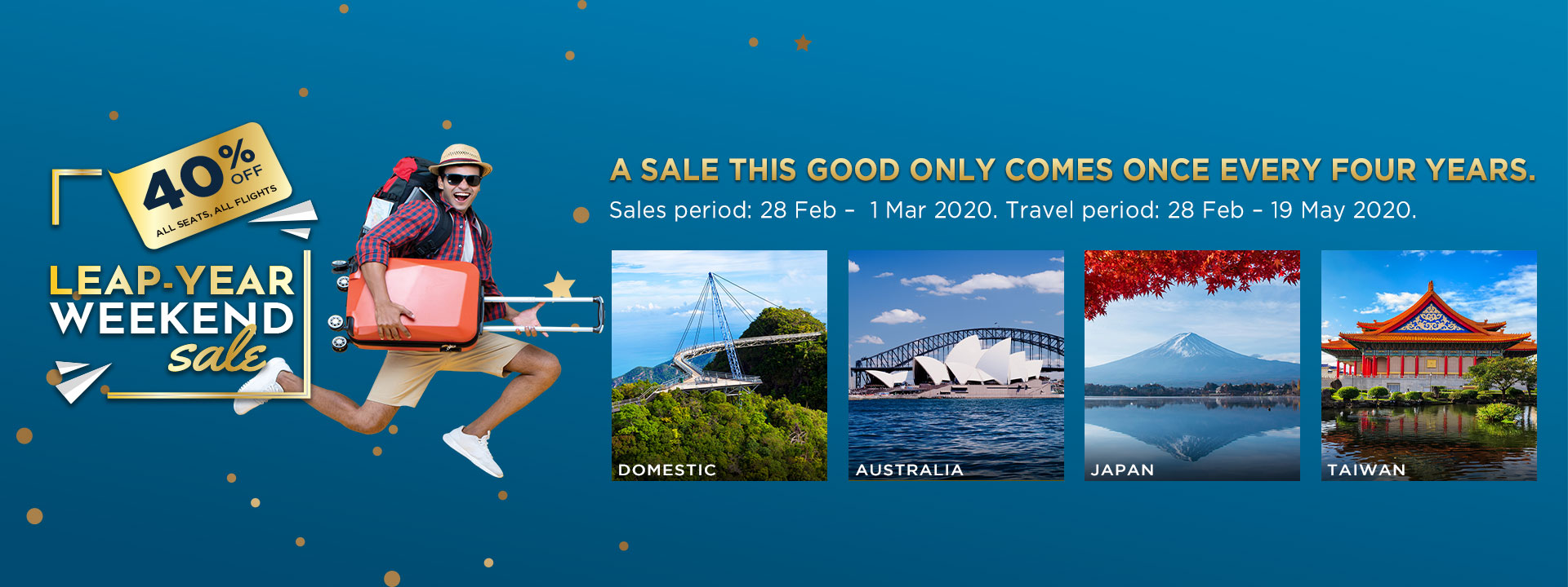 Malaysia Airlines Leap-Year Weekend Sale – 40% off fares MH LeapYearWeekendSale