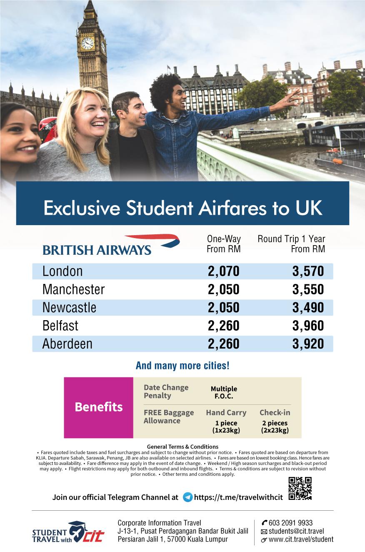 British Airways Special Student Airfares BA UK FLYER 200804 1