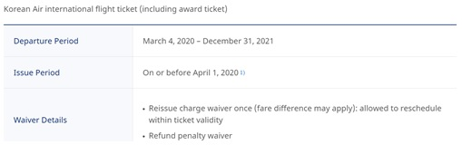Airlines Travel Waiver KR TNC