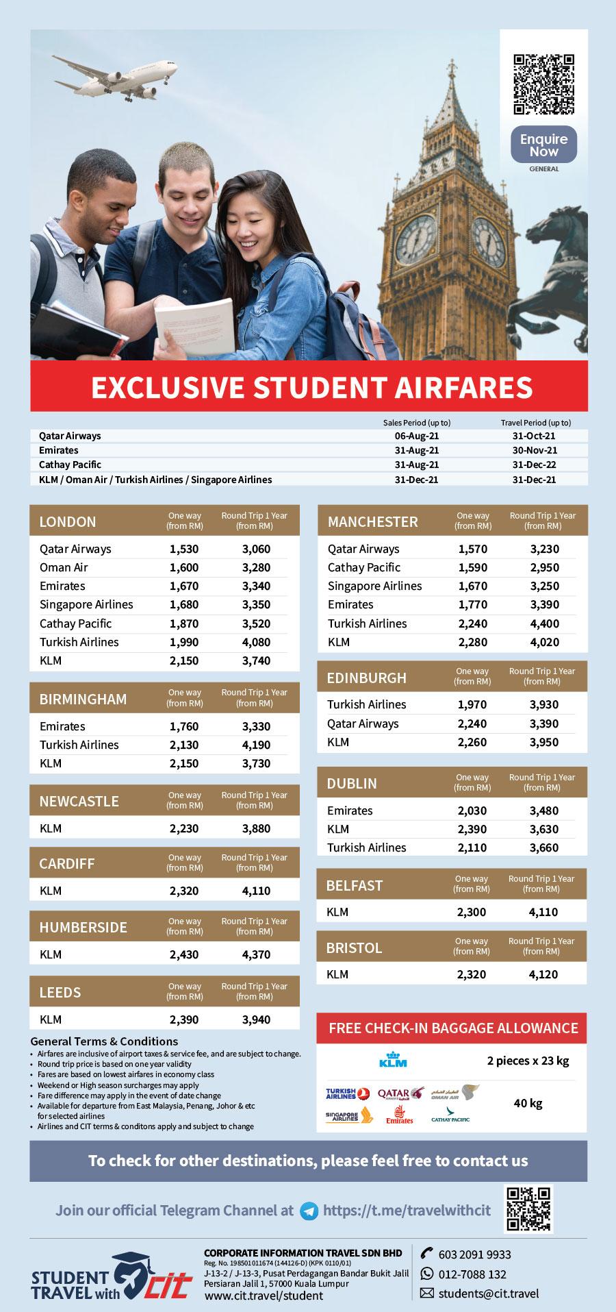 Student Airfares StudentAirFares 28.6.2021 Roundtrip